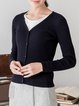 Black V Neck Casual Nylon Cardigan