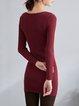 Red Plain Bodycon Long Sleeve V Neck Mini Dress