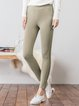 Khaki Pockets Casual Skinny Leg Pants