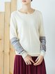 Geometric Long Sleeve Knitted Cotton-blend Sweater