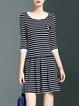 Viscose 3/4 Sleeve Casual Stripes Mini Dress