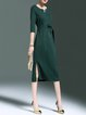 Green A-line 3/4 Sleeve Plain Slit Bow Midi Dress