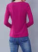 Fuchsia Embroidered Cotton-blend Simple Stretchy Long Sleeved Top