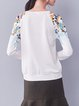Beige Cotton-blend Printed Raglan Sleeve Long Sleeved Top