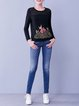 Black Printed Pierced Casual Crew Neck Long Sleeved Top