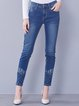 Blue Embroidered Casual Washed Denim Skinny Leg Pant