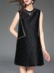 Black Crew Neck Shift Casual Mini Dress