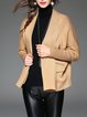 Khaki Cashmere Long Sleeve Plain Cardigan