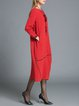 Red Scoop Neckline Plain Vintage Linen Midi Dress