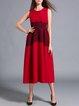 Sleeveless Ombre/Tie-Dye Elegant Color-block A-line Midi Dress
