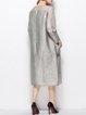 Gray 3/4 Sleeve Shift Plain Midi Dress