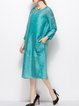 Blue Silk 3/4 Sleeve Shift Midi Dress