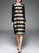 Black Linen Long Sleeve Stripes Shift Midi Dress