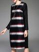 Long Sleeve Linen Crew Neck Simple Stripe H-line Midi Dress