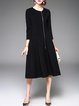 Black A-line Crew Neck Plain Simple Zipper Midi Dress