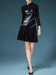 Paneled 3/4 Sleeve Casual Cotton Mini Dress