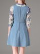Chiffon Denim Two Piece Embroidered 3/4 Sleeve Casual Mini Dress