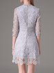 Lace 3/4 Sleeve Stand Collar Crocheted Girly Mini Dress