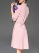 Pink V Neck Plain Simple Cotton-blend Wrap Dress