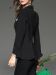 Black Long Sleeve Appliqued Solid Lapel Blazer