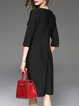 Black 3/4 Sleeve Pockets Cotton-blend Midi Dress