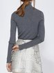 Gray Wool Blend Long Sleeve Appliqued Plain Knitted Sweater