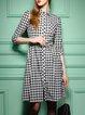 Gray Checkered/Plaid 3/4 Sleeve Midi Dress With Belt