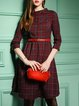 Red Checkered/Plaid Buttoned Casual A-line Midi Dress With Belt