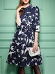 Navy Blue Half Sleeve Bird Printed Midi Dress With Belt