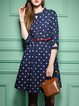 Blue Cutout Half Sleeve Keyhole Cartoon Print Midi Dress
