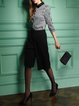 Black Simple Work Pockets Plain Wide Leg Pants