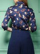 Bird Print 3/4 Sleeve Work Shirt Collar Blouse