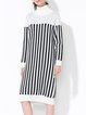 Casual Turtleneck Long Sleeve Knitted Stripes Sweater Dress