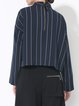 Navy Blue Stripes Woven Stand Collar Zipper Statement Blouse