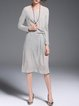 Gray Crew Neck Gathered Long Sleeve Midi Dress
