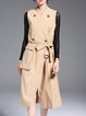 Khaki Cotton-blend Sleeveless Plain Stand Collar Trench Coat With Belt