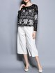 Black Casual Lace Paneled Animal Print Blouse