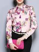 Long Sleeve Polyester Floral Print H-line Casual Blouse