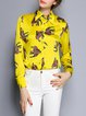 Vintage Printed Shirt Collar H-line Long Sleeve Blouse
