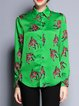 Green H-line Printed Long Sleeve Shirt Collar Blouse