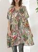Multicolor V Neck Floral H-line Half Sleeve Tunic
