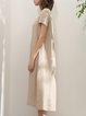 Short Sleeve Printed Linen Casual Midi Dress
