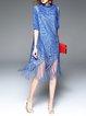 H-line Vintage Half Sleeve Fringed Midi Dress