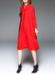 Red Stand Collar Polyester Simple Midi Dress