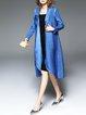 Blue Paneled Asymmetrical Long Sleeve Polyester Coat