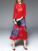 Paneled Vintage 3/4 Sleeve Midi Dress