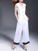 White Pockets Simple Linen Two Piece Jumpsuit