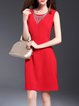 Red Simple Cotton-blend A-line Midi Dress with Necklace
