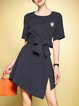 Navy Blue Asymmetric Casual Midi Dress wth Belt