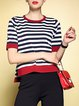 Red Color-block Stripes Short Sleeve Short Sleeved Top